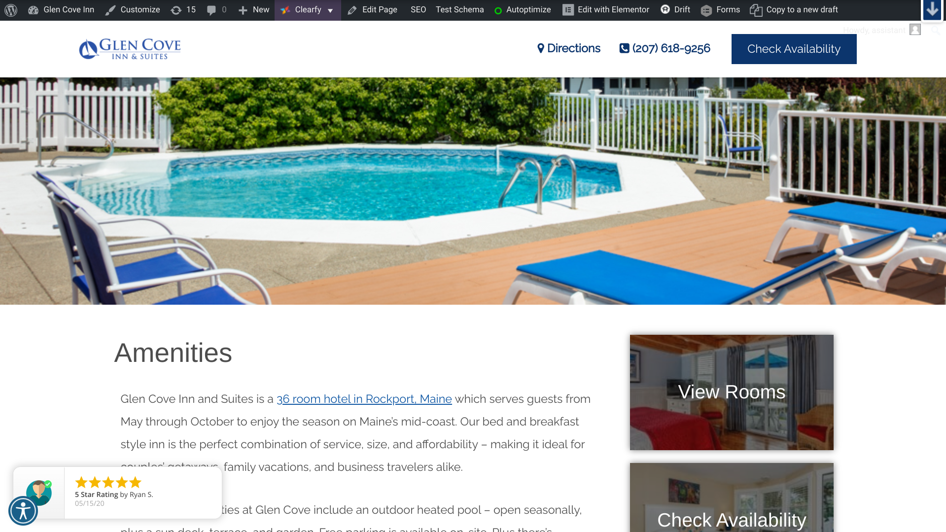 example of website pop-up for feature recent reviews in boutique lodging property marketing