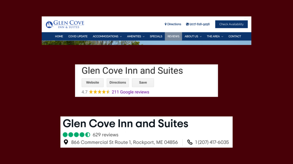 Review sources screenshots for Glen Cove Inn & Suites