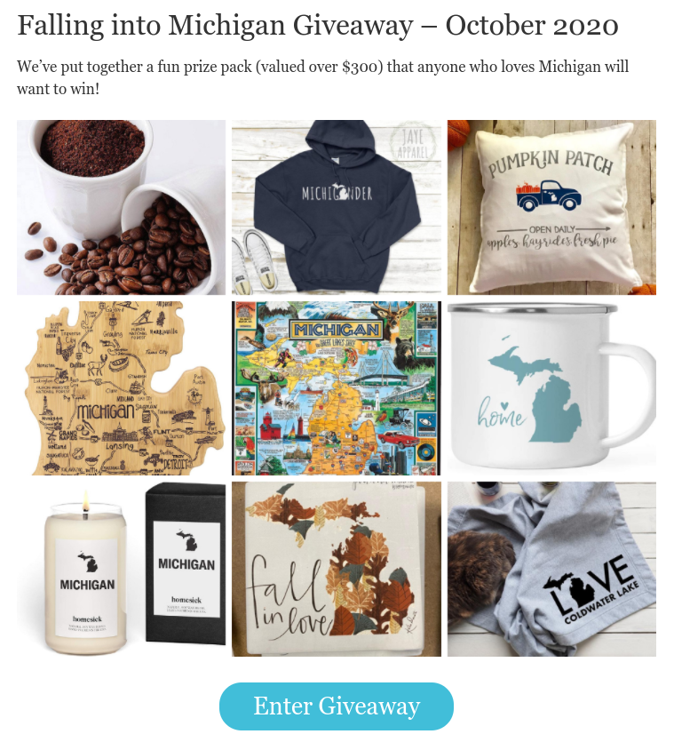 Fall in Michigan giveaway on Awesome Mitten screenshot